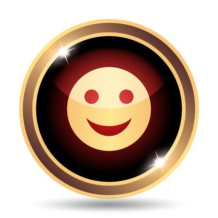 gold facial: Smiley icon. Internet button on white background.