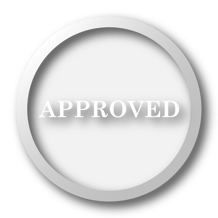 Approved icon. Internet button on white background. Stock Photo