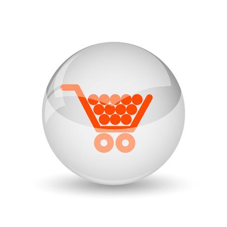 buy button: Shopping cart icon. Internet button on white background. Stock Photo
