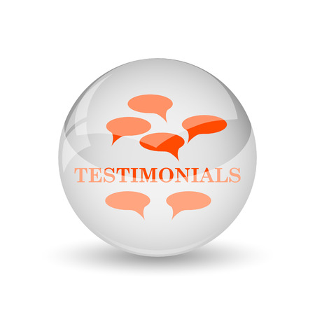certificated: Testimonials icon. Internet button on white background.
