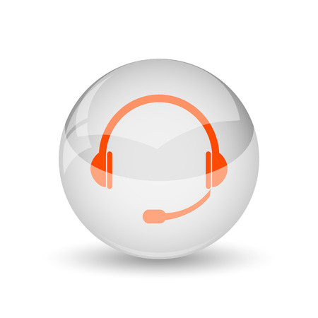 hear business call: Headphones icon. Internet button on white background. Stock Photo