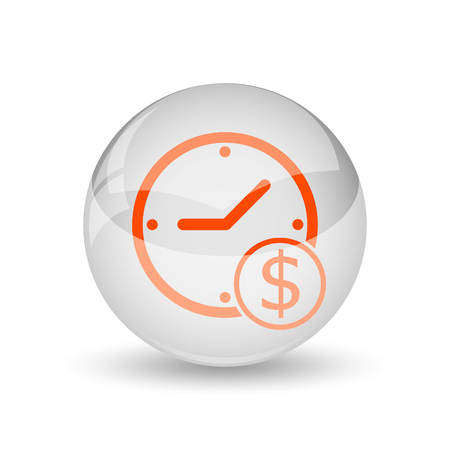 Time is money icon. Internet button on white background.