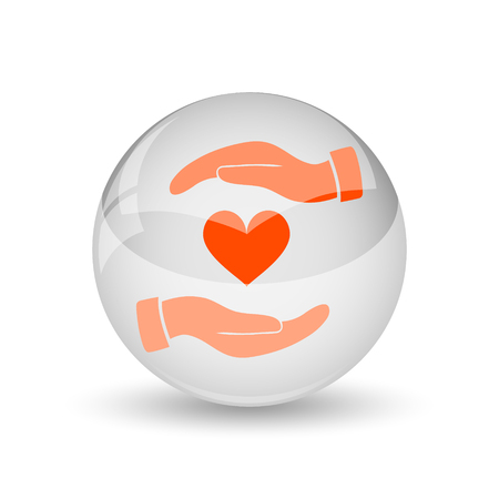 hands holding heart: Hands holding heart icon. Internet button on white background.