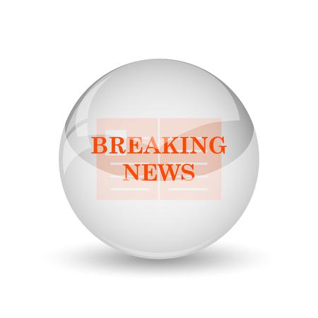 newsflash: Breaking news icon. Internet button on white background.
