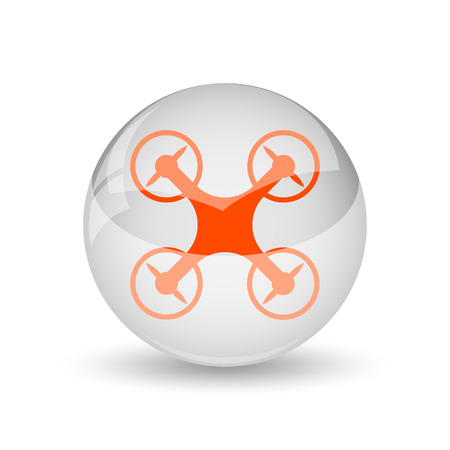 drones: Drone icon. Internet button on white background. Stock Photo