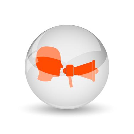 urgent announcement: Megaphone icon. Internet button on white background.