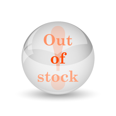 selling stocks: Out of stock icon. Internet button on white background.