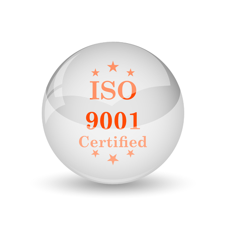certify: ISO9001 icon. Internet button on white background.