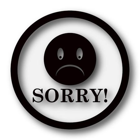 Sorry icon. Internet button on white background. Stock Photo