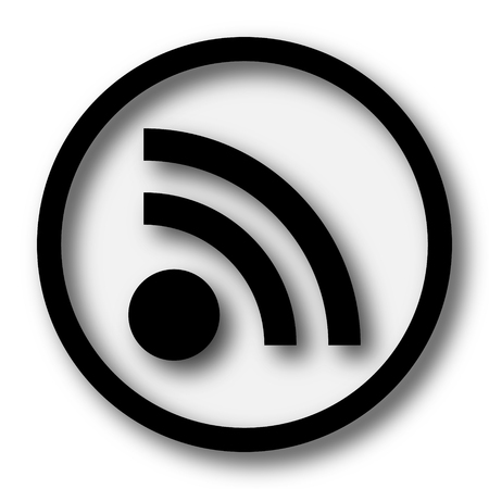 meta: Rss sign icon. Internet button on white background. Stock Photo