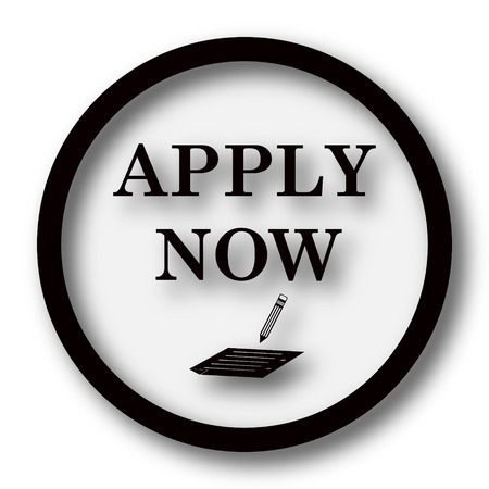 apply now: Apply now icon. Internet button on white background.