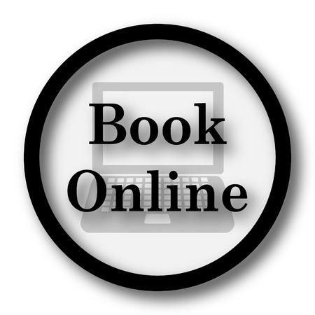 Book online icon. Internet button on white background.