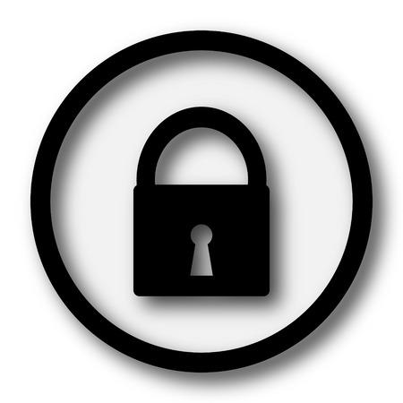 ロック アイコン。白い背景の上のインター ネット ボタン。 写真素材