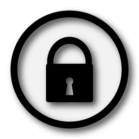 security icon: Lock icon. Internet button on white background.