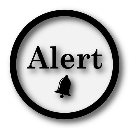 alerta: Icono de alerta. Botón de internet sobre fondo blanco.