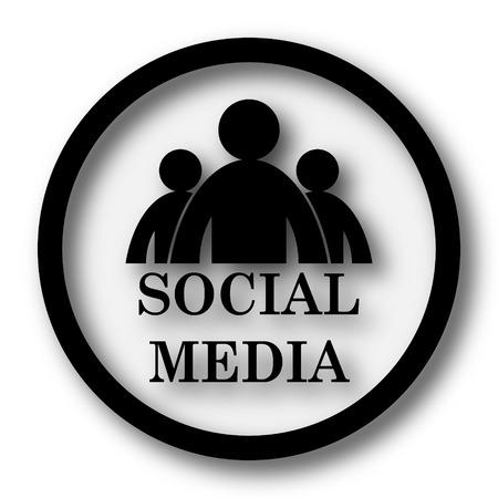 black button: Social media icon. Internet button on white background.