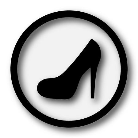 calcanhares: ícone do salto alto. botão Internet no fundo branco.