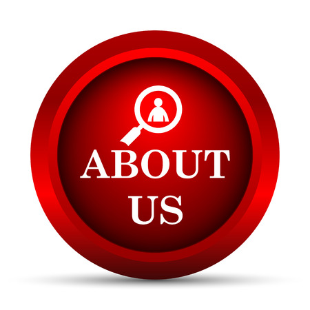 find us: About us icon. Internet button on white background.