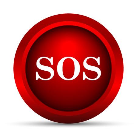 SOS icon. Internet button on white background. Stock Photo