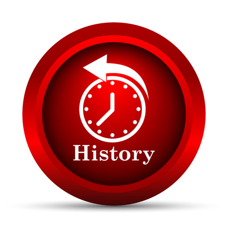 back in an hour: History icon. Internet button on white background.