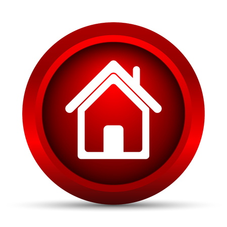 red button: Home icon. Internet button on white background.