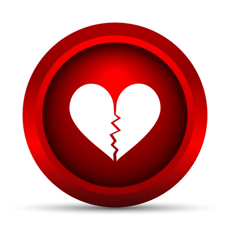 breakup: Broken heart icon. Internet button on white background. Stock Photo