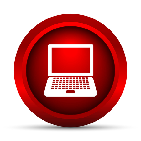 red button: Laptop icon. Internet button on white background. Stock Photo
