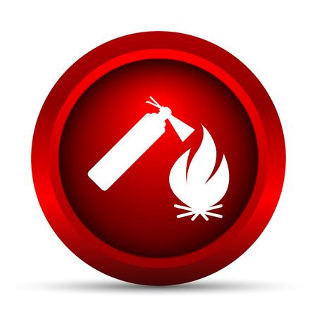 bombero de rojo: Icono de fuego. Bot�n de internet sobre fondo blanco.