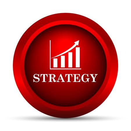 estrategia: Icono Estrategia. Bot�n de internet sobre fondo blanco.