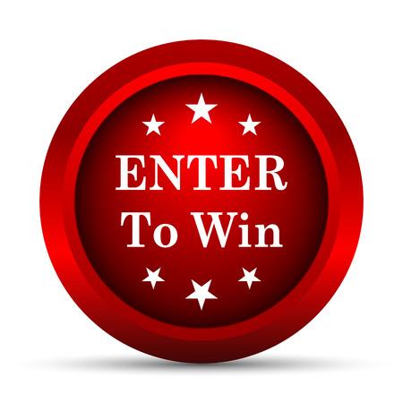 win: Enter to win icon. Internet button on white background.