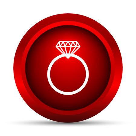 Diamond ring icon. Internet button on white background.