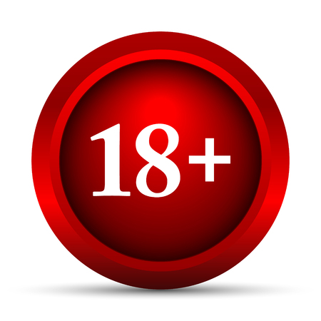 information technology law: 18 plus icon. Internet button on white background.
