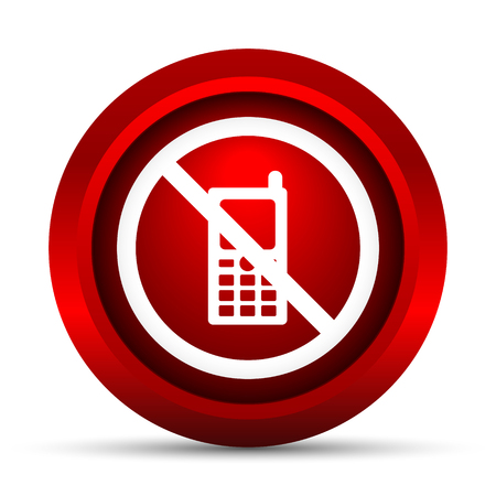 compulsory: Mobile phone restricted icon. Internet button on white background.