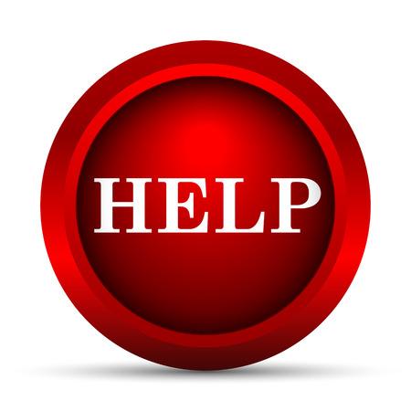 help: Help icon. Internet button on white background.