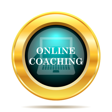 training computer: Online coaching icon. Internet button on white background.