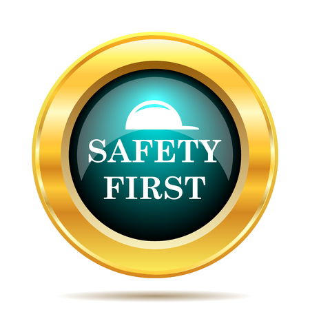 safety: Safety first icon. Internet button on white background. Stock Photo