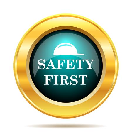 se�ales de seguridad: SEGURIDAD primer icono. Bot�n de internet sobre fondo blanco.