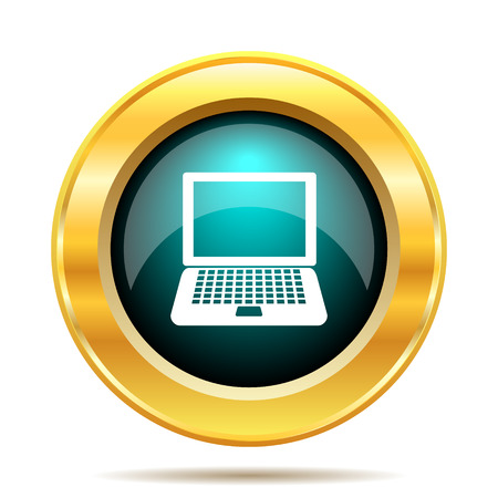 note pc: Laptop icon. Internet button on white background. Stock Photo