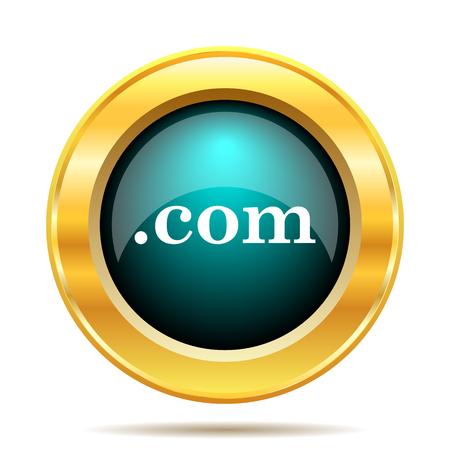 com: .com icon. Internet button on white background.