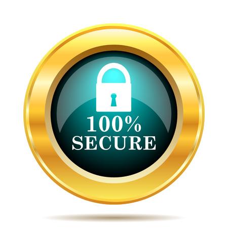reassurance: 100 percent secure icon. Internet button on white background. Foto de archivo