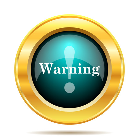 risky: Warning icon. Internet button on white background. Stock Photo