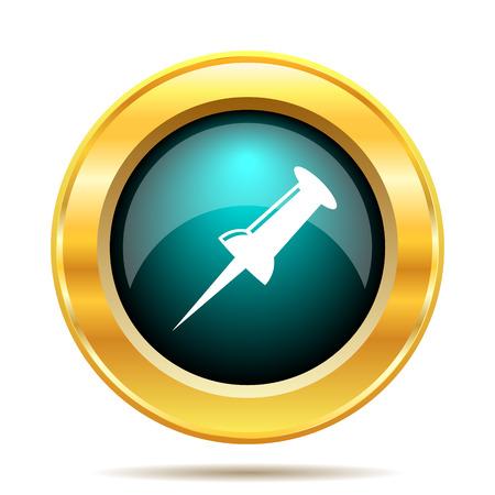 fixation: Pin icon. Internet button on white background.