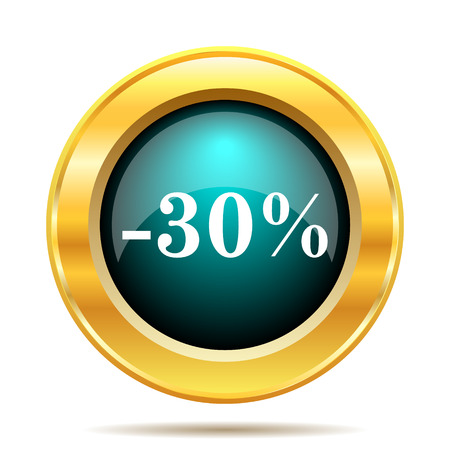 the 30: 30 percent discount icon. Internet button on white background.