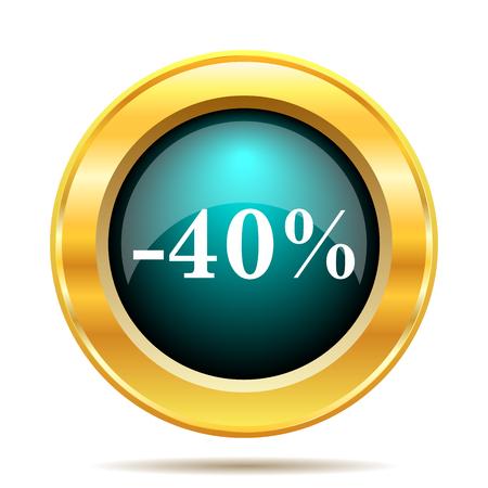 40: 40 percent discount icon. Internet button on white background. Stock Photo