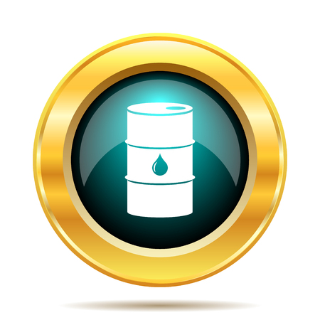gold cans: Oil barrel icon. Internet button on white background. Stock Photo