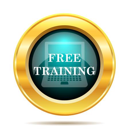 course development: Free training icon. Internet button on white background. Stock Photo