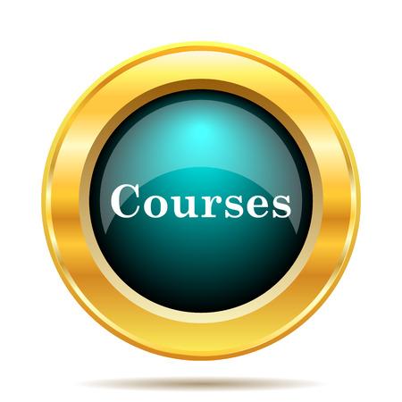 courses: Courses icon. Internet button on white background.