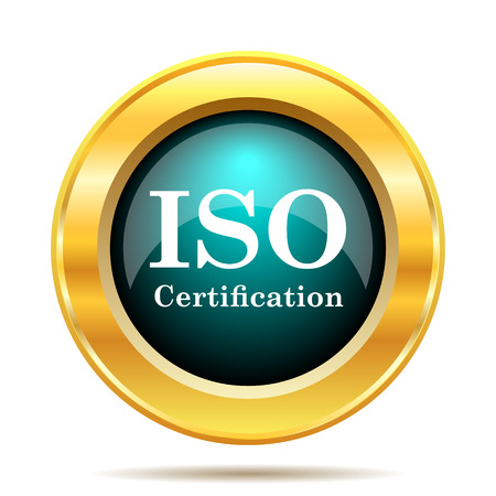 certificated: ISO certification icon. Internet button on white background.