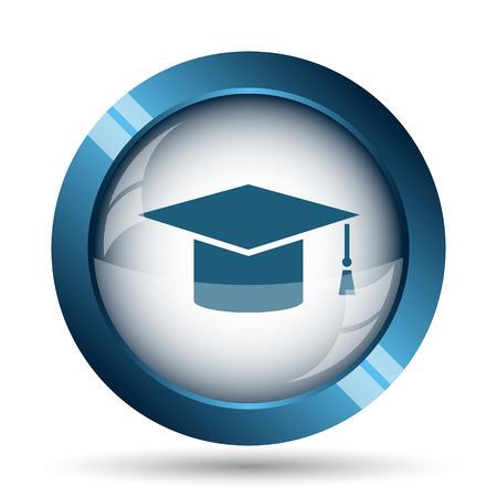 Graduation icon. Internet button on white background.