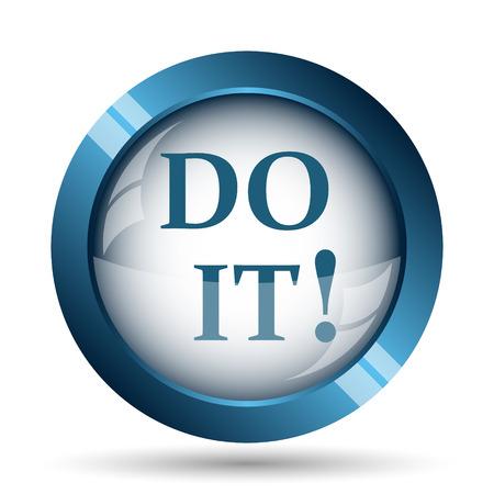 blue button: Do it icon. Internet button on white background.
